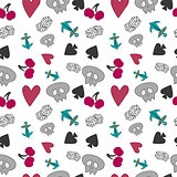 Seamless pattern with elements of cards and fruits