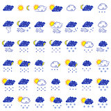 Set of  forty three forecast weather icons