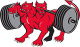 Cerberus Multi-headed Dog Hellhound Powerlifting Barbell Cartoon