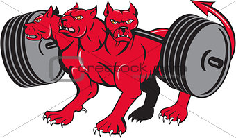 Cerberus Multi-headed Dog Hellhound Powerlifting Barbell Cartoon