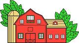 Vintage American Barn Leaves Mono Line