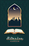 Ramadan kareem open book koran and moon