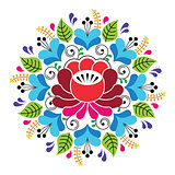 Russian inspired folk art pattern - colorful floral composition