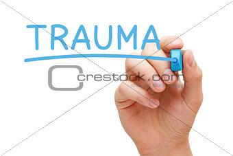 Trauma Handwritten With Blue Marker