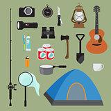 Hiking equipment vector set.