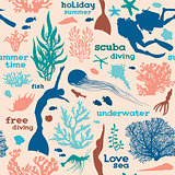 Seamless pattern with divers and corals.