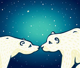 Animal family - two polar bears.