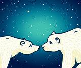 Animal family - two polar bears.
