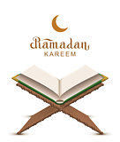 Ramadan Kareem text and open book Koran