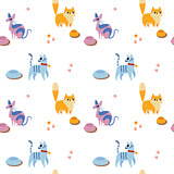 Unusual seamless pattern with cute cartoon cats.