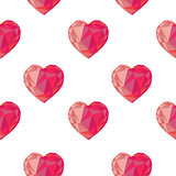 Low poly crystal bright pink hearts seamless pattern.