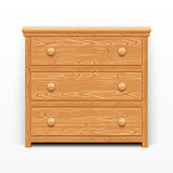 Light brown wooden chest of drawers
