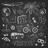 Travel doodles icons sketch on black chalkboard