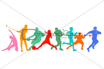 Group of athletes and sportsman illustration