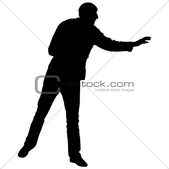Black silhouettes man on white background. Vector illustration