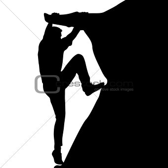 Black silhouette rock climber on white background. Vector illustration
