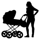 Black silhouettes Family with pram on white background. Vector illustration