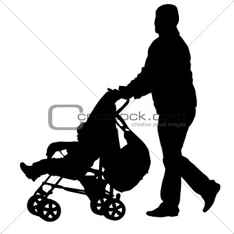 Black silhouettes father with pram on white background. Vector illustration