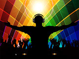 DJ and crowd silhouette on multicoloured background