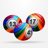 Striped bingo lottery balls on white background