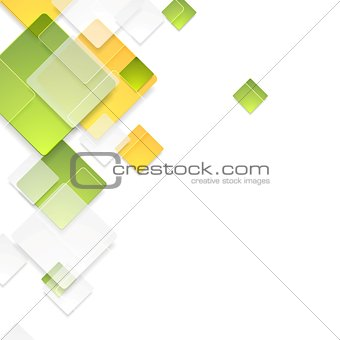 Green and orange glossy squares background