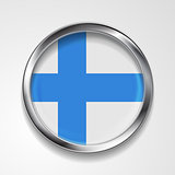 Abstract button with metallic frame. Finnish flag