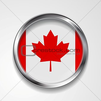 Abstract button with metallic frame. Canadian flag