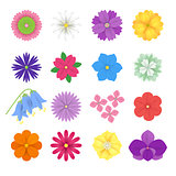 Set of colorful Paper Flowers white background. Vector eps 10 format.