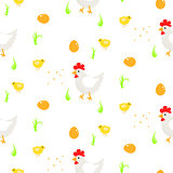 Cartoon rooster country seamless vector pattern.