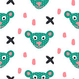 Cute bear green fun seamless pattern for kids and babies.