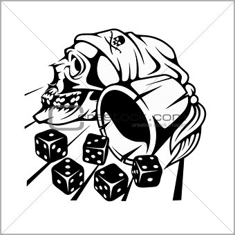Skull and playing dice