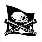 Pirates emblem - telescopes and skull. Black flag for entertainment party decor.