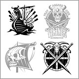 Set of viking emblems, labels and logos.