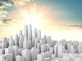 White modern city against a beautiful sunrise
