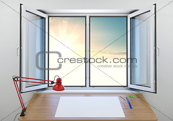 An open window overlooking a beautiful sunrise