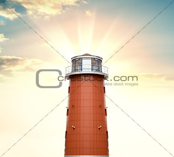 A lighthouse against a background of sunrise
