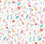 Spring seamless floral pattern on a white background.