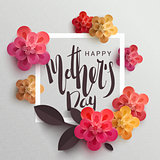 Postcard to mother's day, with paper flowers.