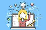 Vector illustration woman with idea lamp light bulb above head and index finger up design element for solution service business online help presentation startup line art