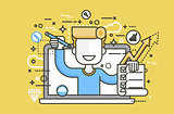 Vector illustration man in laptop notebook offers fill in application form design element education, subscription email marketing newsletter online management line art