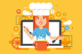 Vector illustration chef cook nutritionist dietician woman HLS cooking training education recipe blog proper and healthy eating lifestyle online TV show nutrition flat style