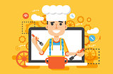 Vector illustration chef cook nutritionist dietician man HLS cooking training education recipe blog proper and healthy eating lifestyle online TV show nutrition flat style