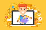 Vector illustration man piggy bank in hands design element for financial education, banking, deposit, saving, discount, online promotion, marketing, management flat style