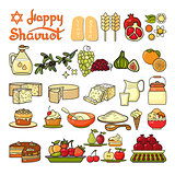 Happy Shavuot icon. Set of cute various Shavuot icons.