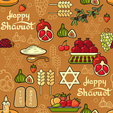 Happy Shavuot Vector seamless pattern. Wheat, pomegranate, olive
