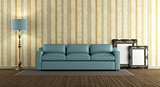 Blue leather sofa in a classic living room