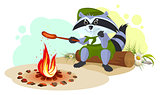 Raccoon scout fry sausages on fire