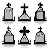 Gravestone set - Tombstones silhouettes
