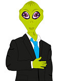 Extraterrestrial being in black suit