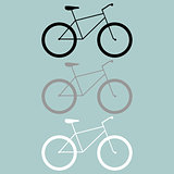 Bicycle black grey white icon.